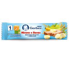 Гербер батончик Дореми фрукты/яблоко/банан 25г